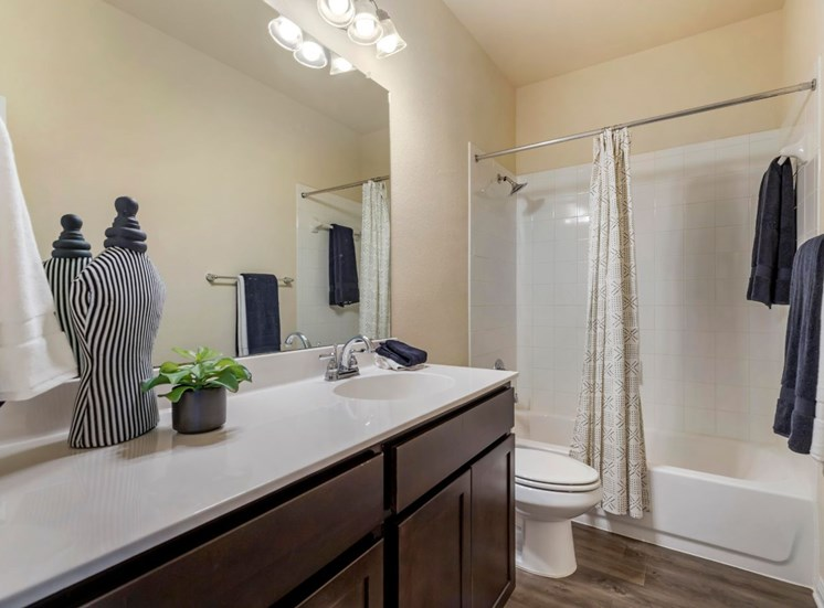 Decorated bathroom with show curtain, blue and white towels, vanity lights, and large counter space