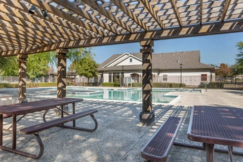 Swimming Pool with Tanning Deck and Pergola