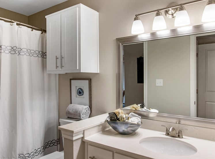 Model Bathroom with White Cabinets and Counters with Decorations