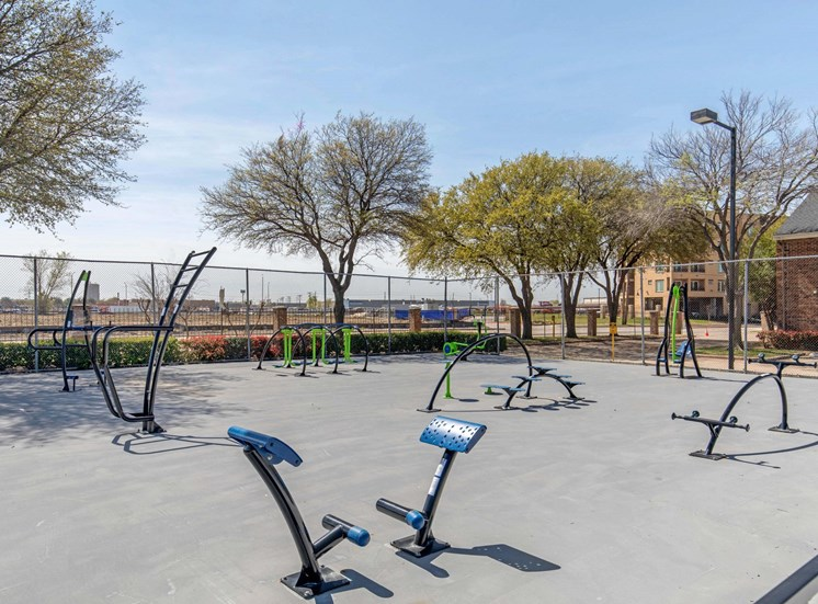 Outdoor fitness center with fitness equipment