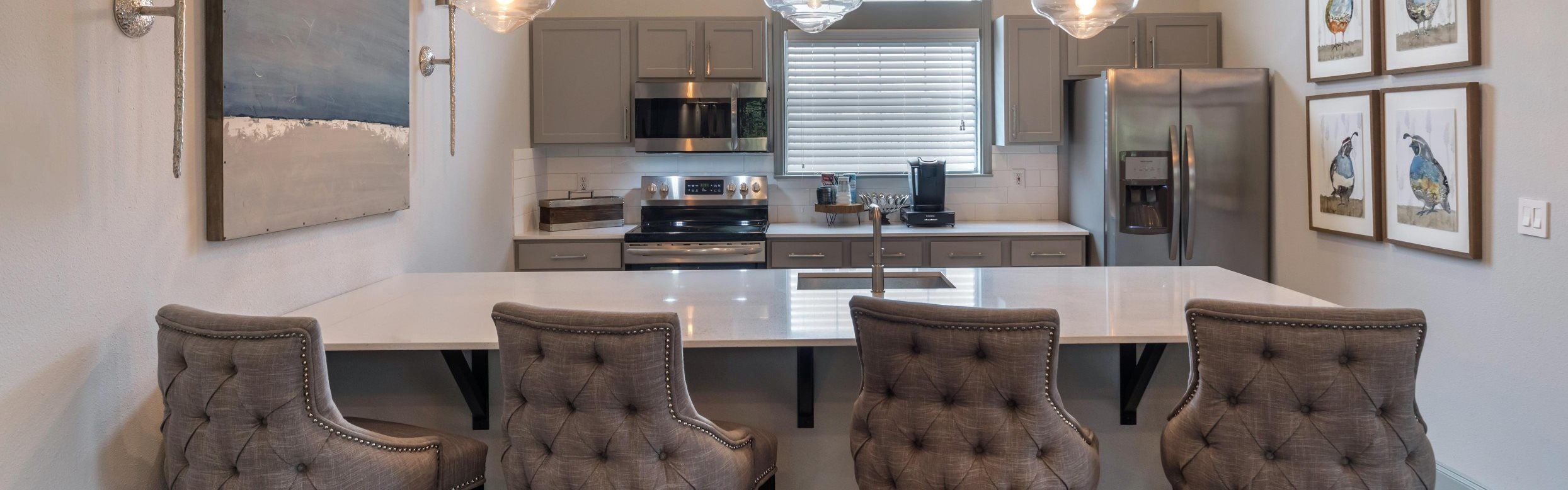 Clubhouse kitchen with modern lights, stainless steel appliances, and decorated walls with photos of birds