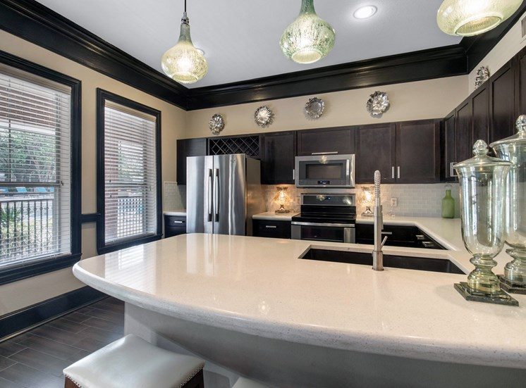 Clubhouse kitchen with brushed nickle appliances, modern light fixtures, and espresso colored cabinets
