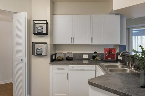 New River Cove Apartments | Kitchen with Double Basin Sink and White Appliances