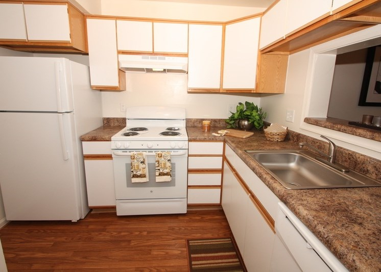 Fully equipped kitchen with white cabinets and double basin sink