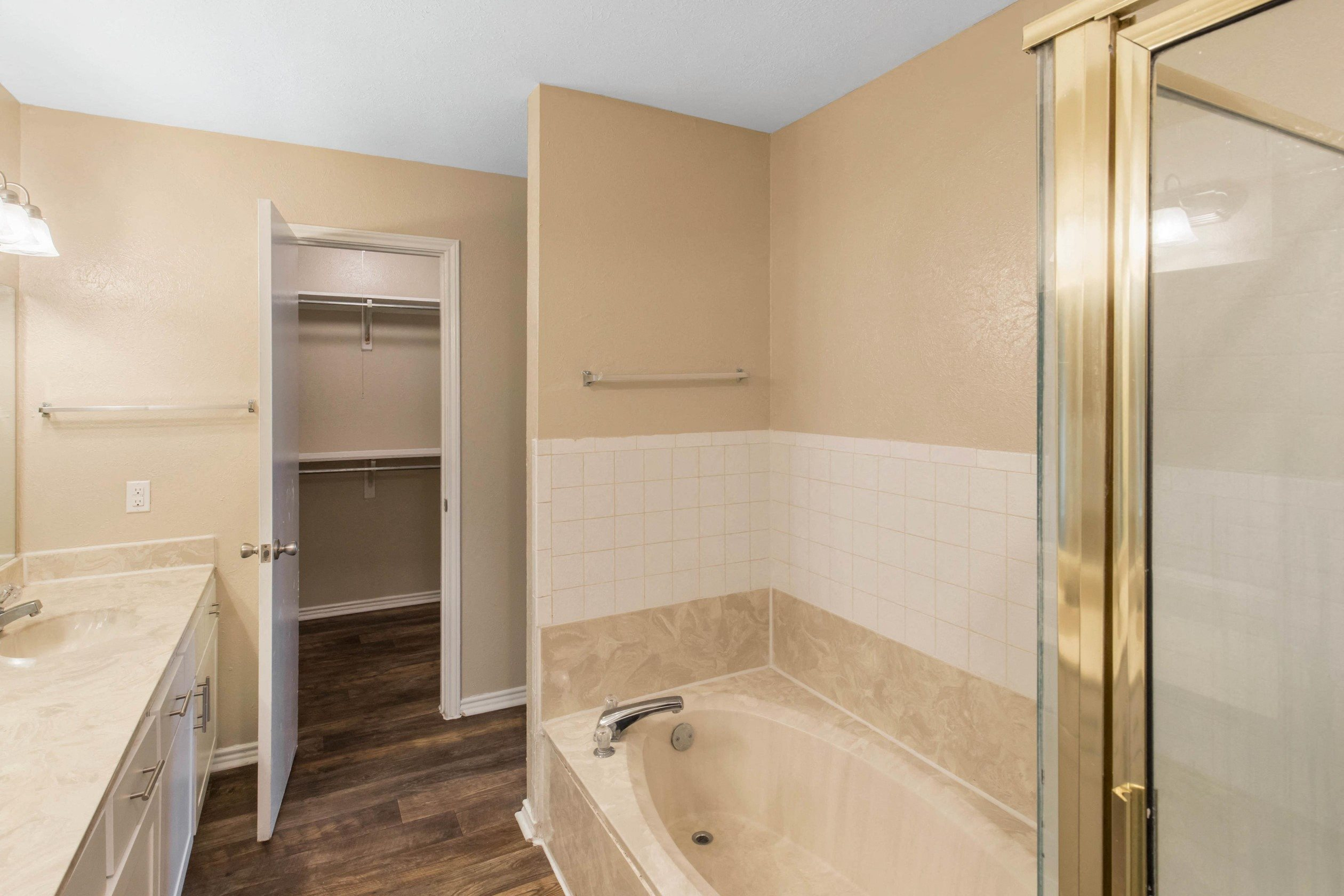 Lake Village West Apartments Garland, TX Bathroom with Standup Shower