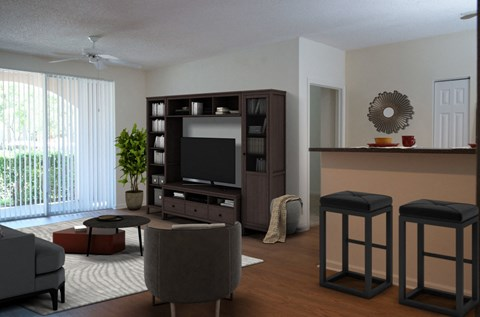 Miramar Lakes Apartments | Spacious Living Room with Private Patio