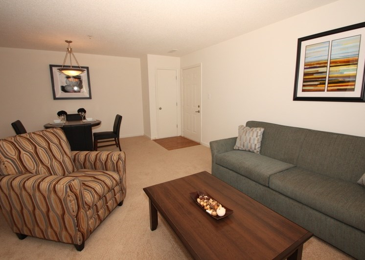 Decorated living room with gray couch, accent chair, and coffee table