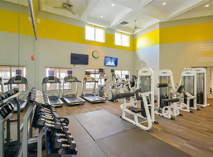 Fitness Center with Exercise Equipment and Mirror Accent Wall and Green and Yellow Walls