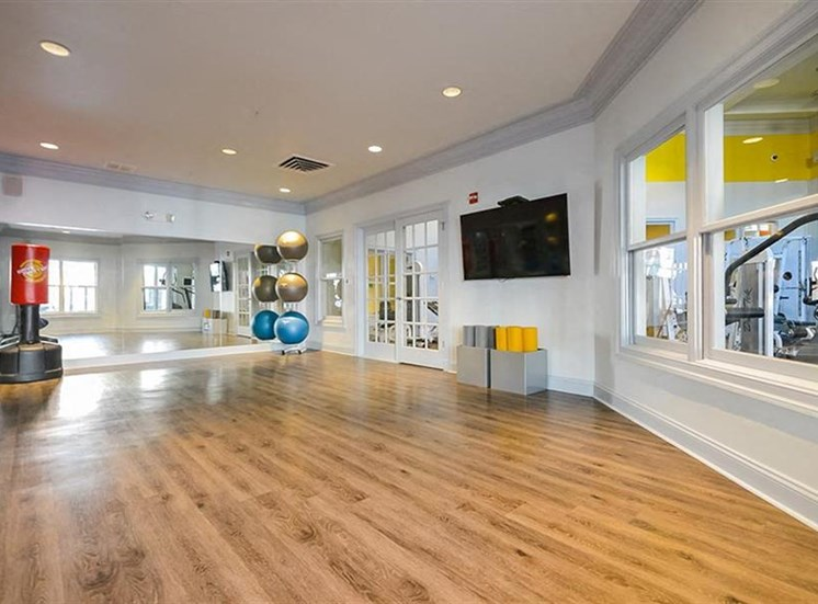 Fitness Studio with Mirrored Accent Wall Hardwood Style Flooring and Mounted TV