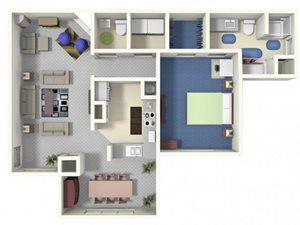 Ashley A1 Floor plan 1 bed 1.5 bath