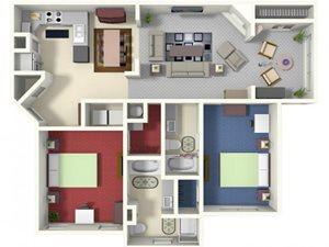 Brannigan B1 Floor Plan 2 bed 2 bath