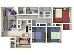 Cameron C1 floor plan 3 bed 2.5 bath