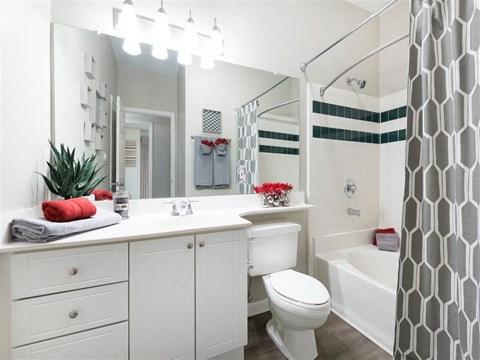 Bathroom with White Cabinets White Counters and White Bathtub and Shower with Green Accent Stripes