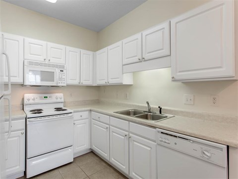 Kitchen with White Cabinets Brown Counters and White Appliances Appliances