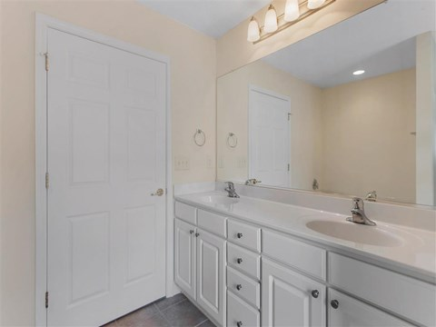 Bathroom with White Cabinets White Counters
