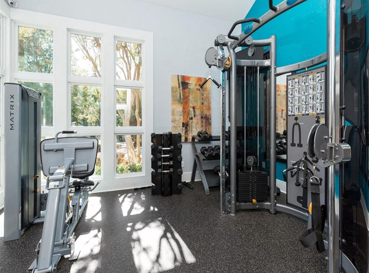 Fitness Center with Weight Training Equipment  Next to Windows