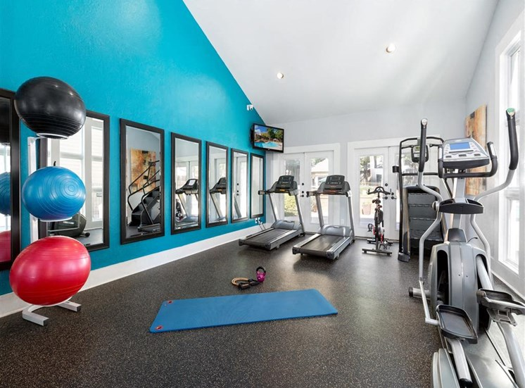 Fitness Center with Exercise Equipment Mirrors and Windows