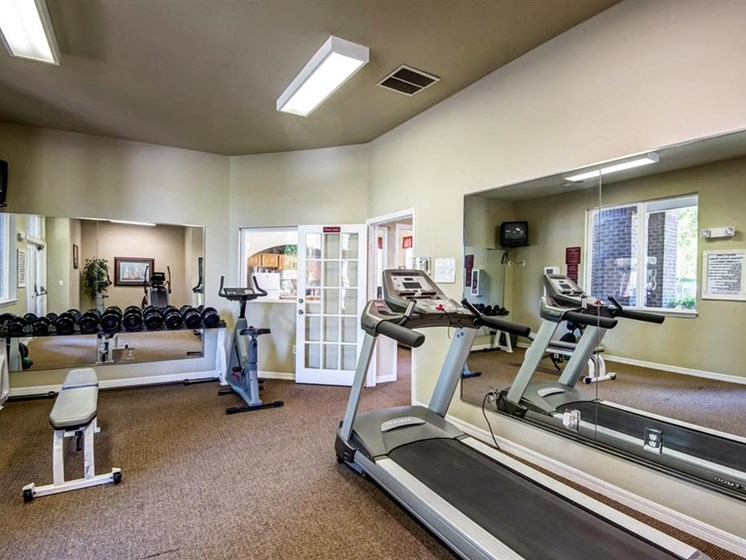 Fitness Center with Exercise Equipment with Mirror Accent Walls and Mounted TV