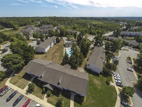 Aerial Image of Caveness Farms Apartments for Rent Wake Forest, NC