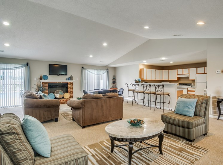 Clubroom With Smart Tv And Fireplace at Stonegate Apartments, Virginia