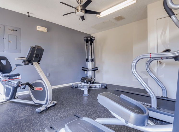 Fitness center with cardio equipment and multi speed ceiling fan