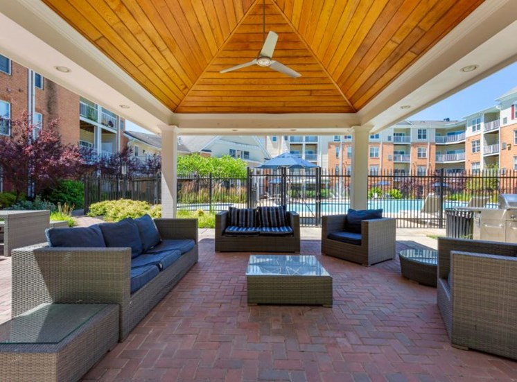 Outdoor Lounge Area with Patio Couches and Armchairs with Table Under Pavillion