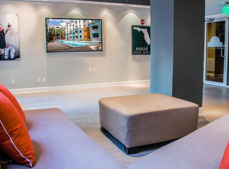 Shared Social Spaces with Sectional and Mounted TV