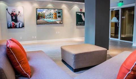 Shared Social Spaces with seating in interior lounge area