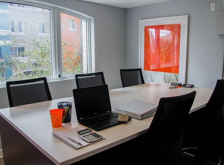 Business Center Conference Room Table with Chairs, Decorations and Office Supplies