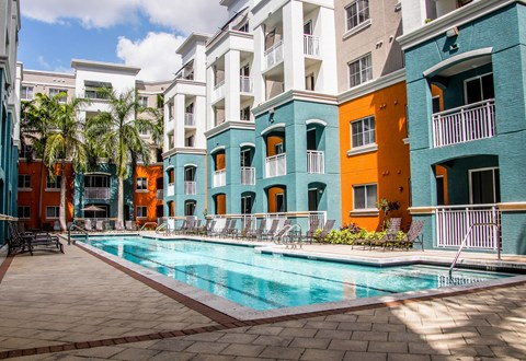 pool courtyard and exterior of building with patios
