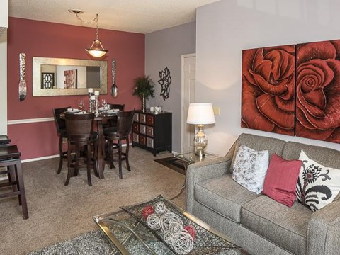 Open Living and Dining | Landmark at Pine Court Apartment Homes Columbia, SC