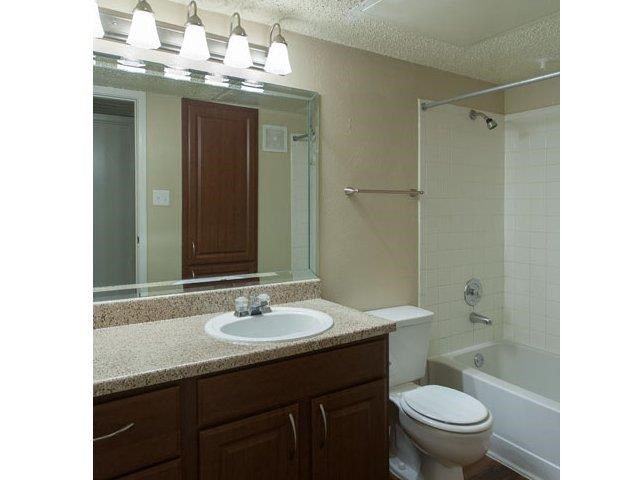 Bathroom with four vanity lights, large counter space, and garden style tubs