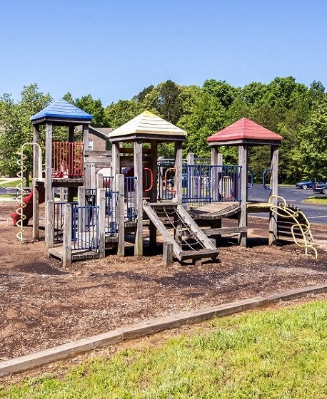 Wooden Playground with Colorful Accents and Treeline in the Background