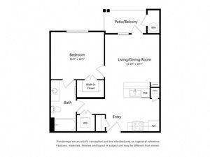 One Bedroom One Bathroom Floor Plan 579 Square Feet