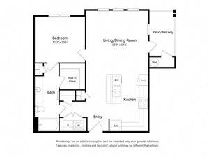 One Bedroom One Bathroom Floor Plan 729 Square Feet