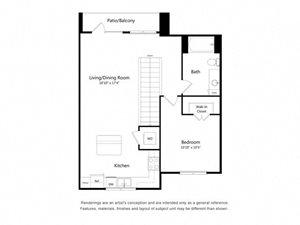 One Bedroom One Bathroom Floor Plan 786 Square Feet
