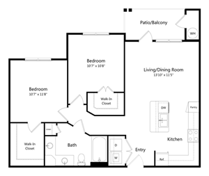 Two Bedroom One Bathroom Floor Plan 886 Square Feet
