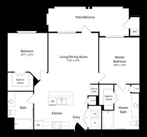 Two Bedroom Two Bathroom Floor Plan 981 Square Feet