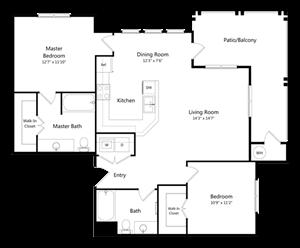 Two Bedroom Two Bathroom Floor Plan 1.079 Square Feet