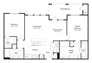 Two Bedroom Two Bathroom Floor Plan 1,136 Square Feet