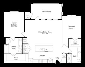 Two Bedroom Two Bathroom Floor Plan 1,215 Square Feet
