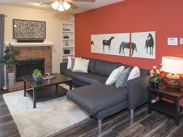 Living Area with Hardwood Style Flooring
