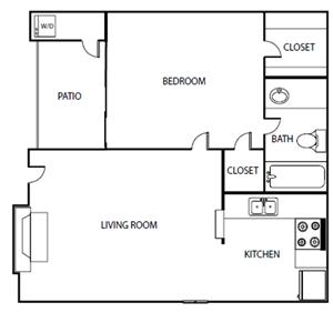 One Bedroom One Bathroom Floor Plan 508 Square Feet
