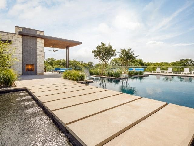 Swimming Pool and Spa with Outdoor Fireplace