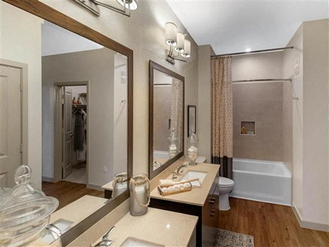 Designer Finished Bathrooms with Double Vanity