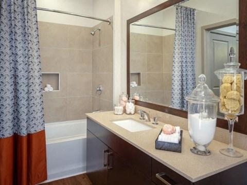 Stylish Bathrooms with Framed Vanity Mirror