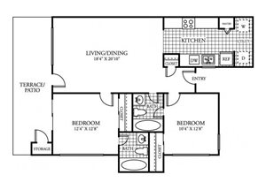 Two Bedroom Two Bathroom Floor Plan 821 Square Feet