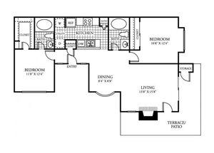 Two Bedroom Two Bathroom 918 Square Feet