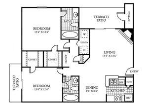 Two Bedroom Two Bathroom 1,067 Square Feet