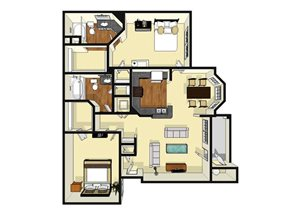 Two Bedroom Two Bathroom Floor Plan 1,067 Square Feet